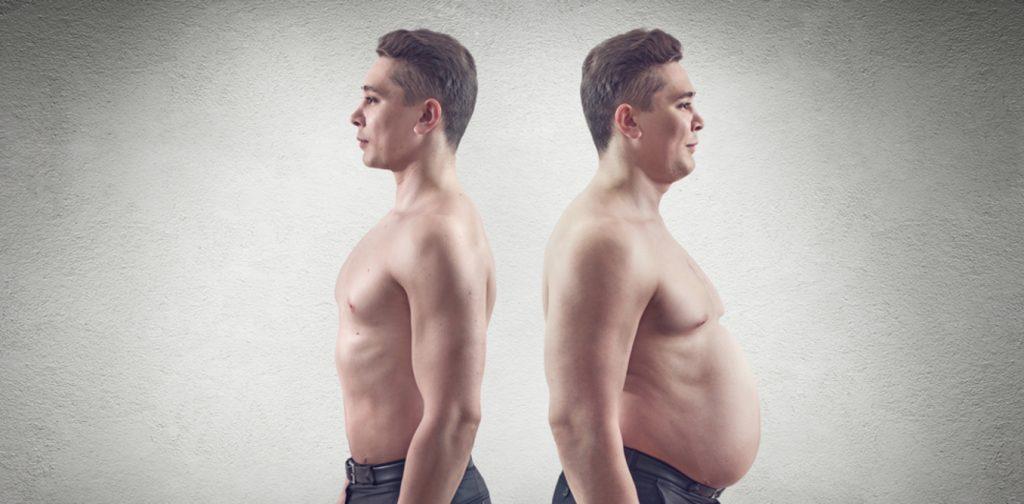 Imagem mostra o mesmo homem, em imagem espelhada: magro à esquerda, com sobrepeso à direita