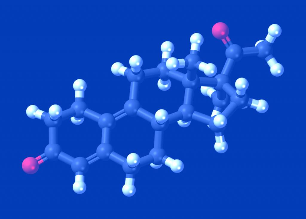 Molécula de Testosterona em esquema 3D